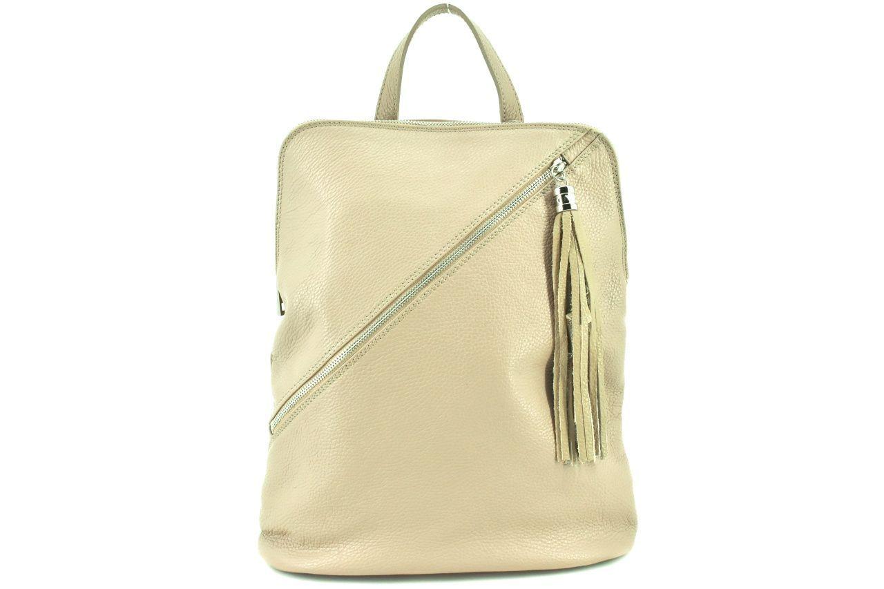 Dámský kožený batoh a kabelka v jednom /Arteddy - krémová 36932