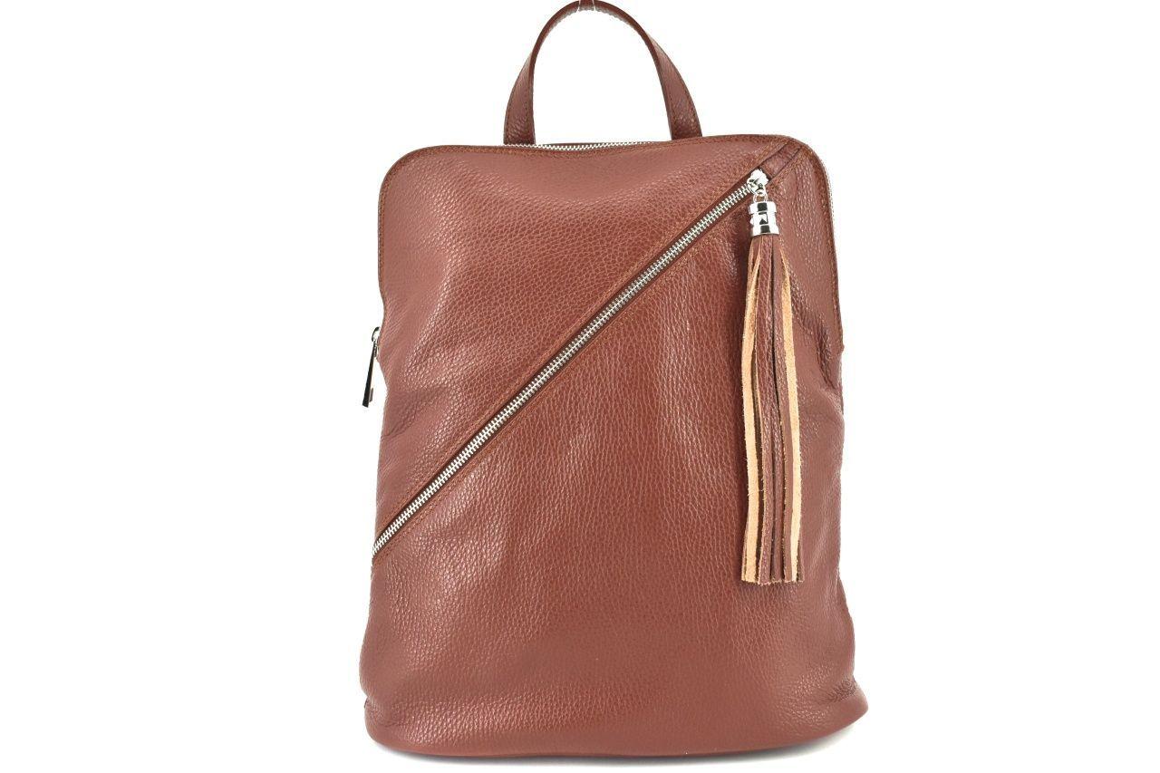 Dámský kožený batoh a kabelka v jednom /Arteddy - hnědá 36932
