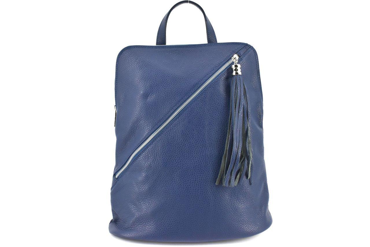 Dámský kožený batoh a kabelka v jednom /Arteddy - modrá 36932