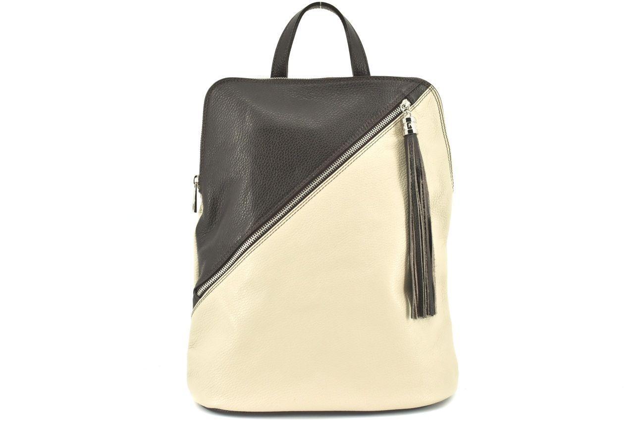 Dámský kožený batoh a kabelka v jednom /Arteddy - krémová/tmavě hnědá 36932