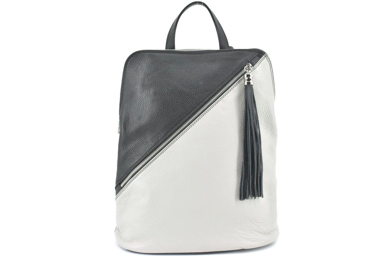 Dámský kožený batoh a kabelka v jednom /Arteddy - světle šedá/černá 36932