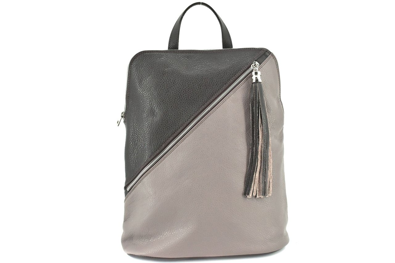 Dámský kožený batoh a kabelka v jednom /Arteddy - taupe/tmavě hnědá 36932