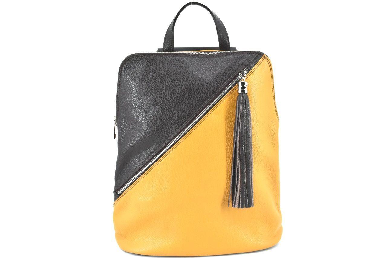 Dámský kožený batoh a kabelka v jednom /Arteddy - hořčicová/tmavě hnědá 36932