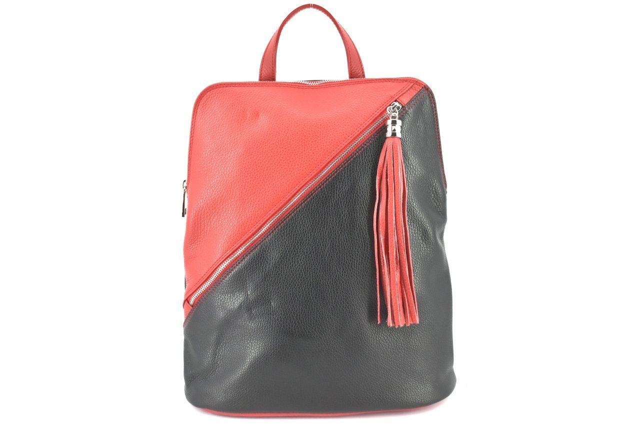 Dámský kožený batoh a kabelka v jednom /Arteddy - černá/červená 36932