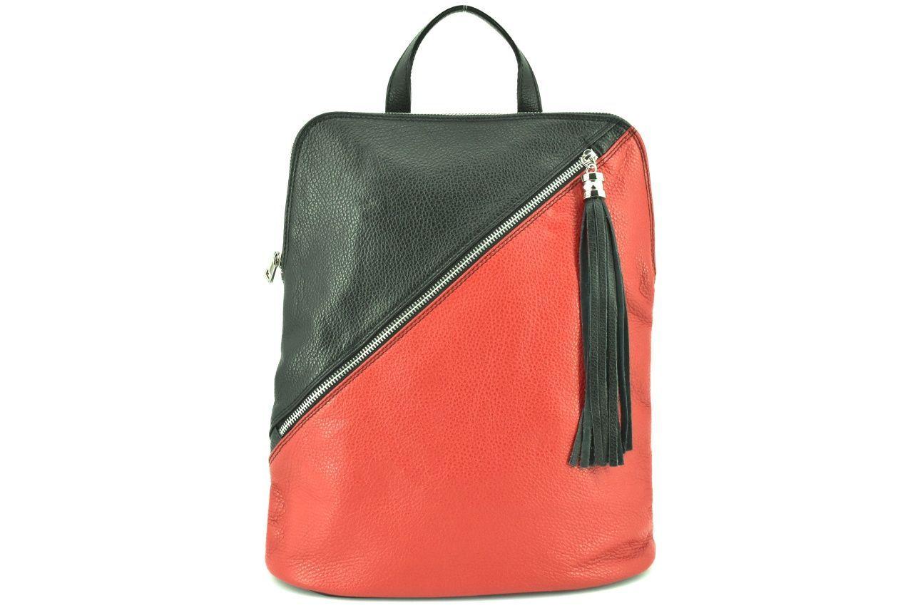 Dámský kožený batoh a kabelka v jednom /Arteddy - červená/černá 36932