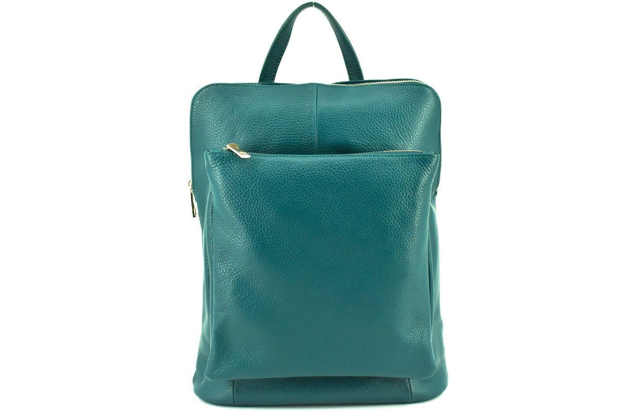 Dámský kožený batoh a kabelka v jednom / Arteddy - petrolejová 36933