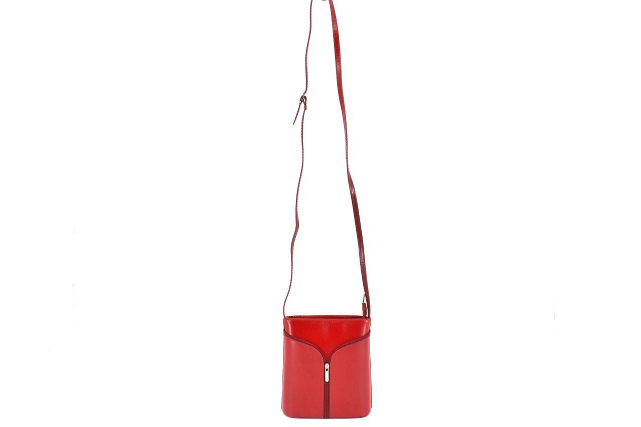 Dámská kožená kabelka crossbody Arteddy - vínová/camel 37124