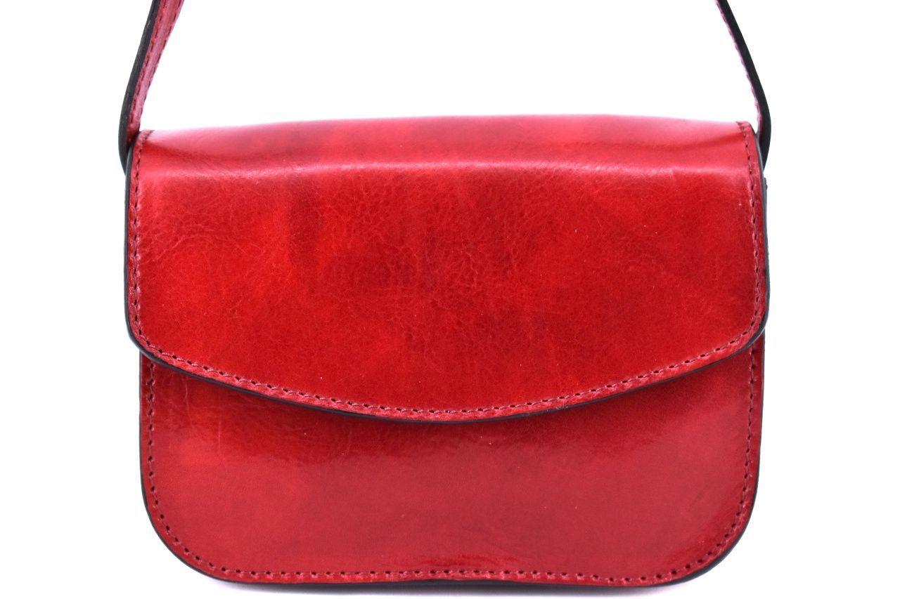 Dámská malá kožená kabelka crossbody (lovecká) Arteddy - červená 37126