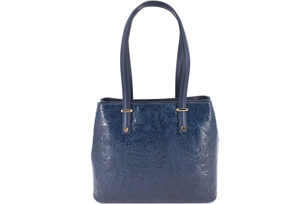 Dámská kožená kabelka s květovaným vzorem Arteddy - tmavě modrá 38956