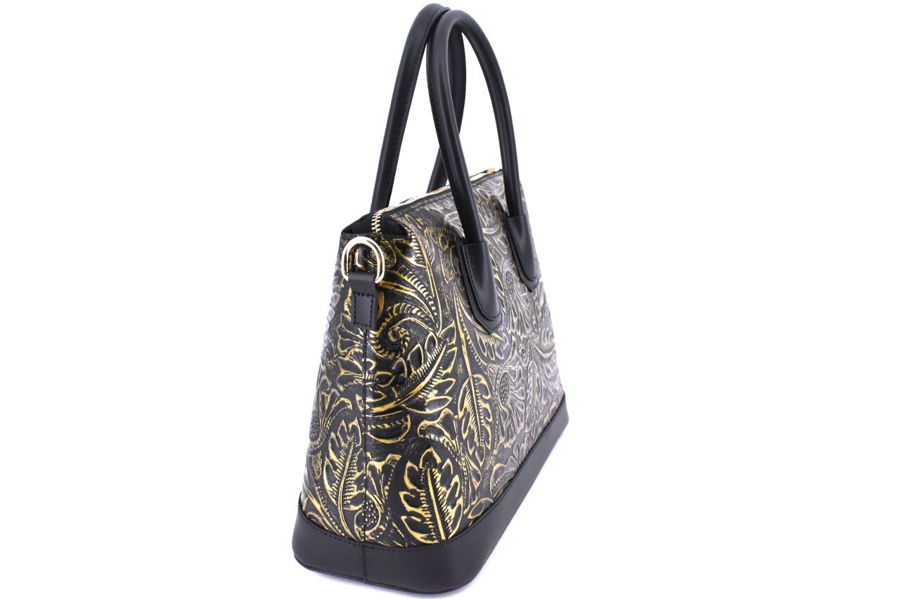 Dámská kožená kabelka s květovaným vzorem Arteddy - hořčicová 38955