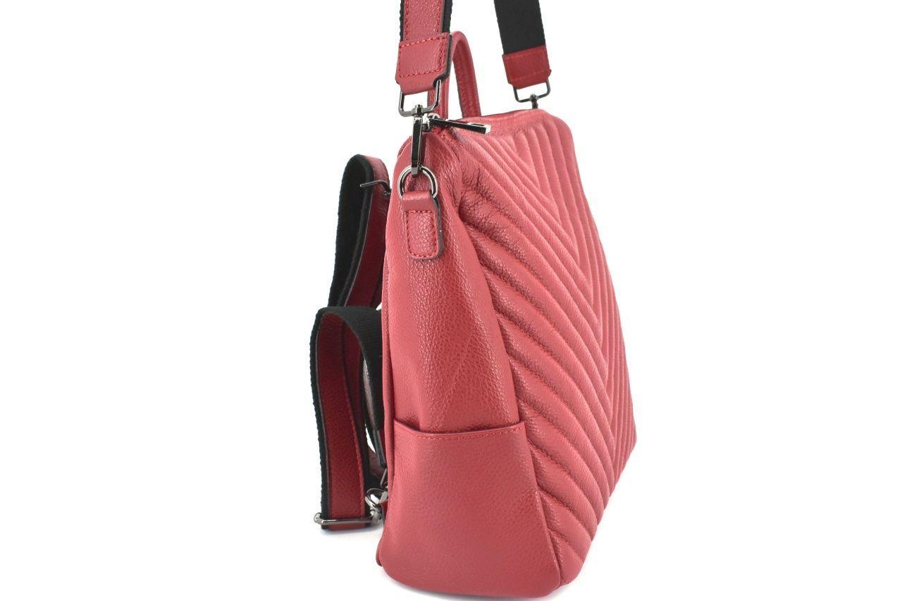 Dámský kožený prošívaný batoh a kabelka v jednom /Arteddy - vínová 38993