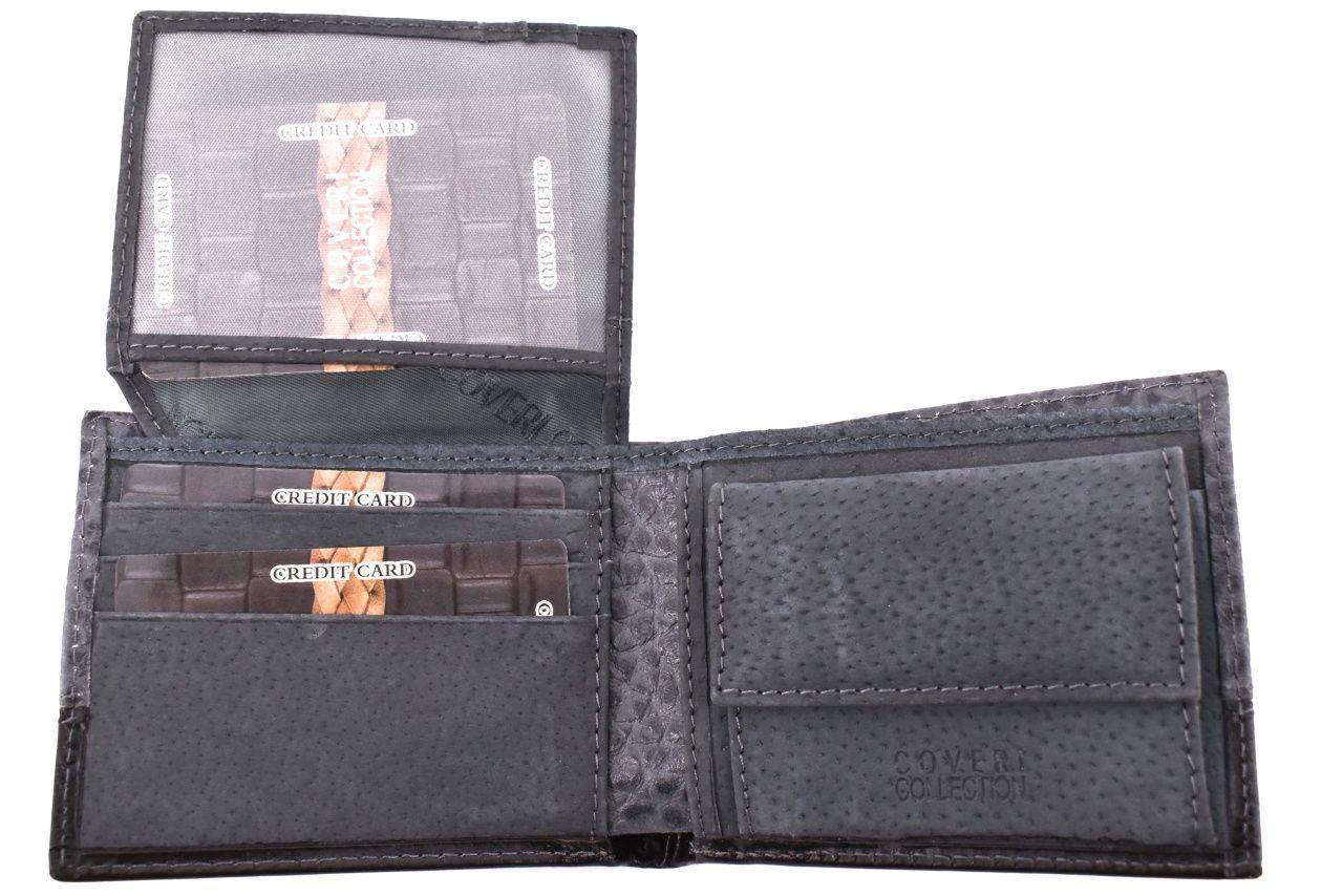 Pánská kožená peněženka na šířku Coveri - šedá 33816