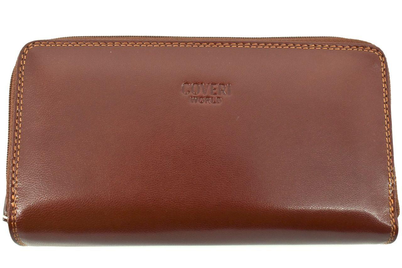 Dámská velká kožená peněženka pouzdrového typu Coveri World - hnědá 26214