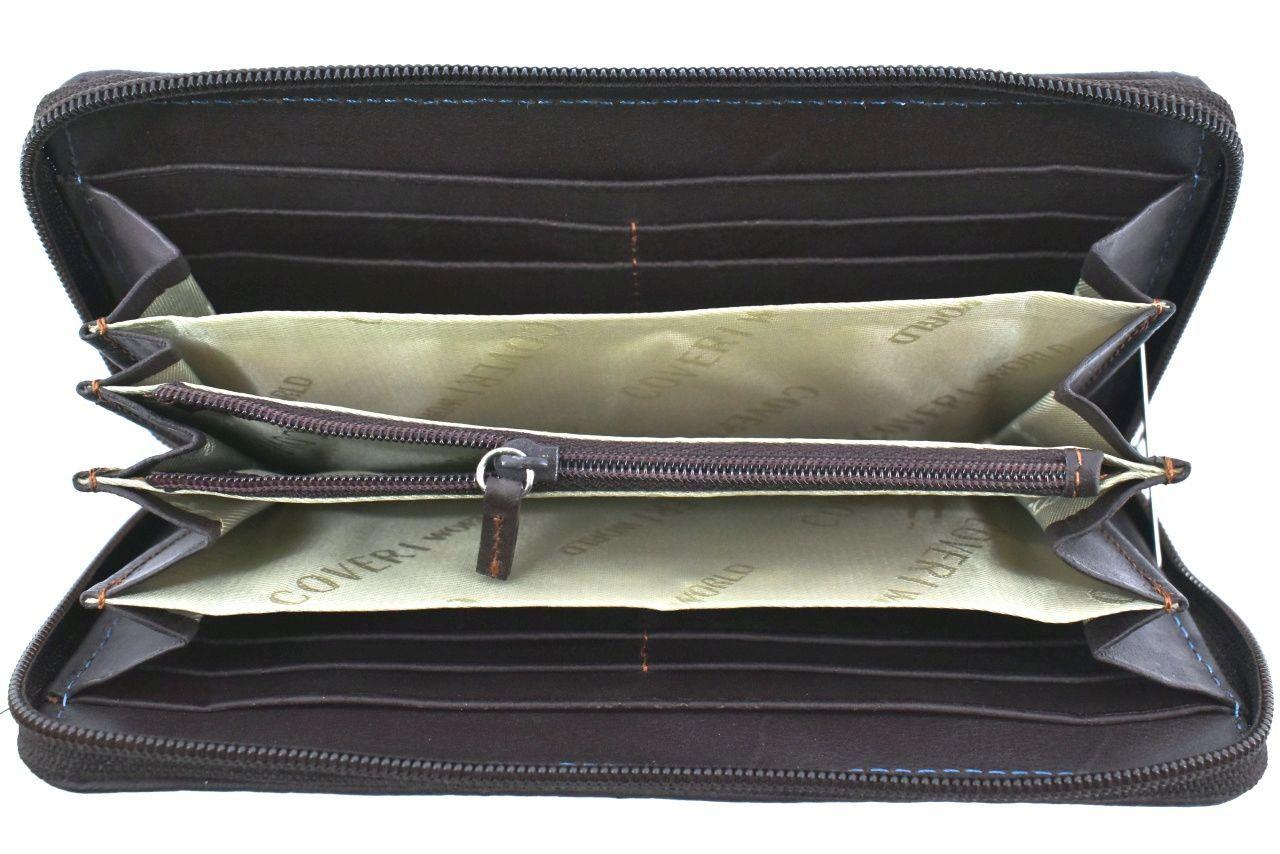 Dámská kožená peněženka pozdrového typu Coveri World - tmavě hnědá 25853