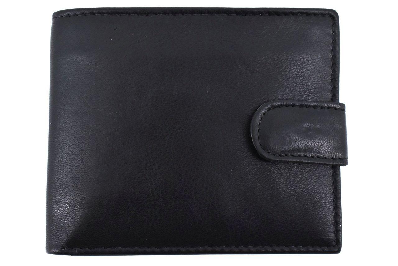 Pánská kožená peněženka na šířku se zápinkou Arteddy - černá 32127