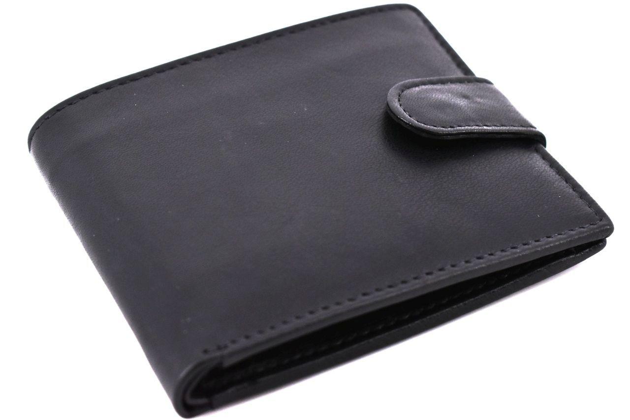 Pánská kožená peněženka na šířku se zápinkou Arteddy - tmavě hnědá 32127