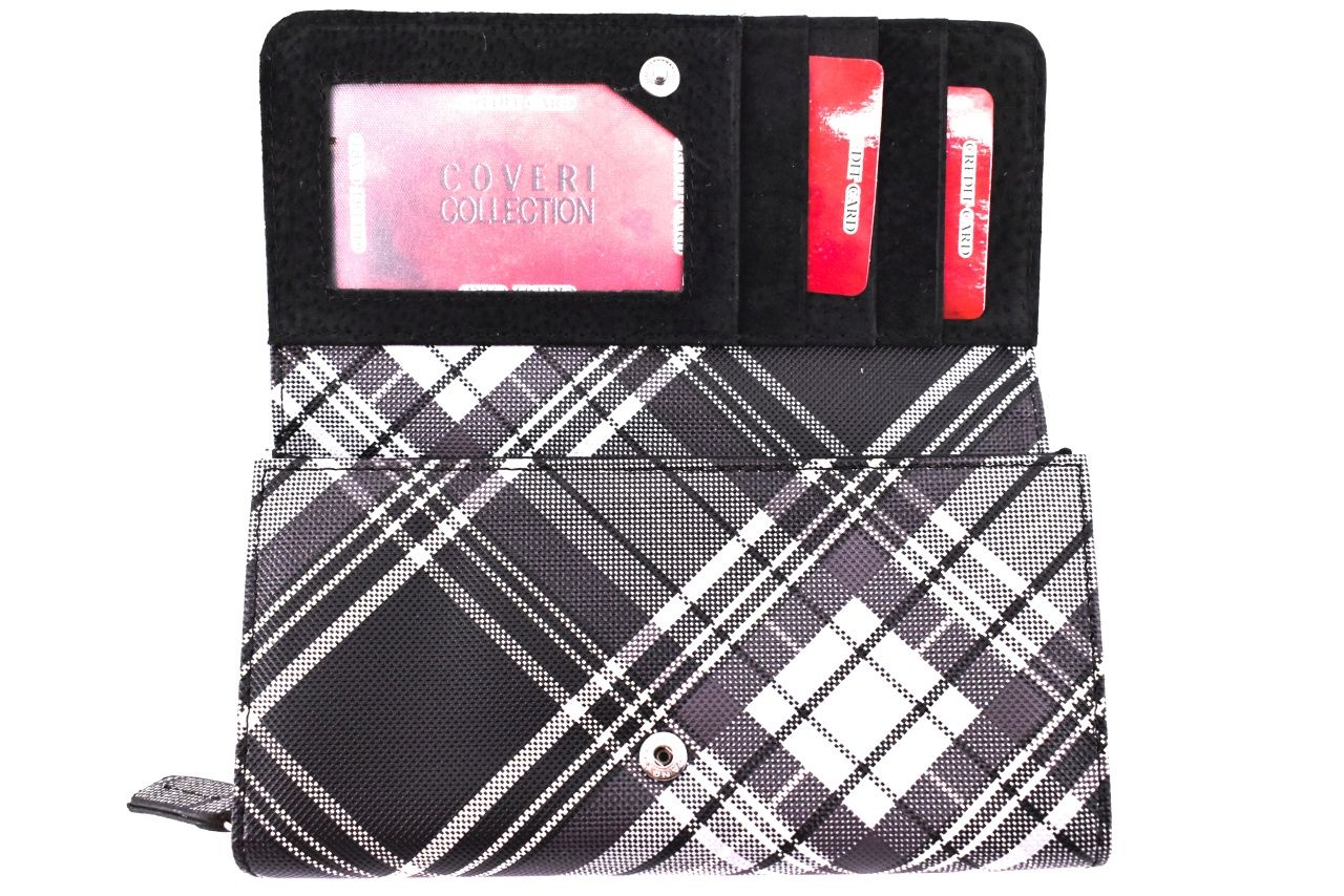 Dámská károvaná peněženka Coveri - hnědá 30901