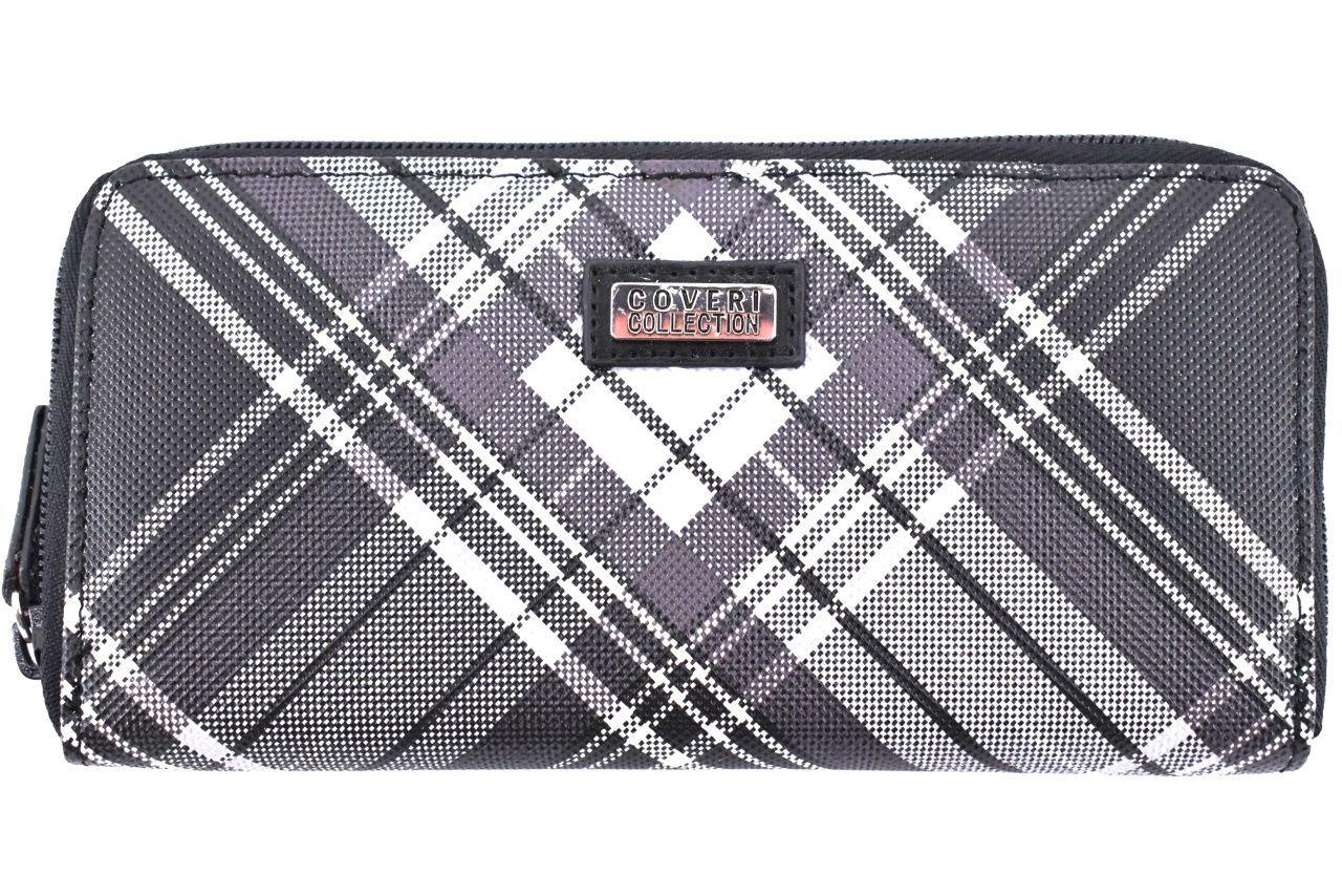 Dámská károvaná peněženka pouzdrového typu Coveri - černá 30900