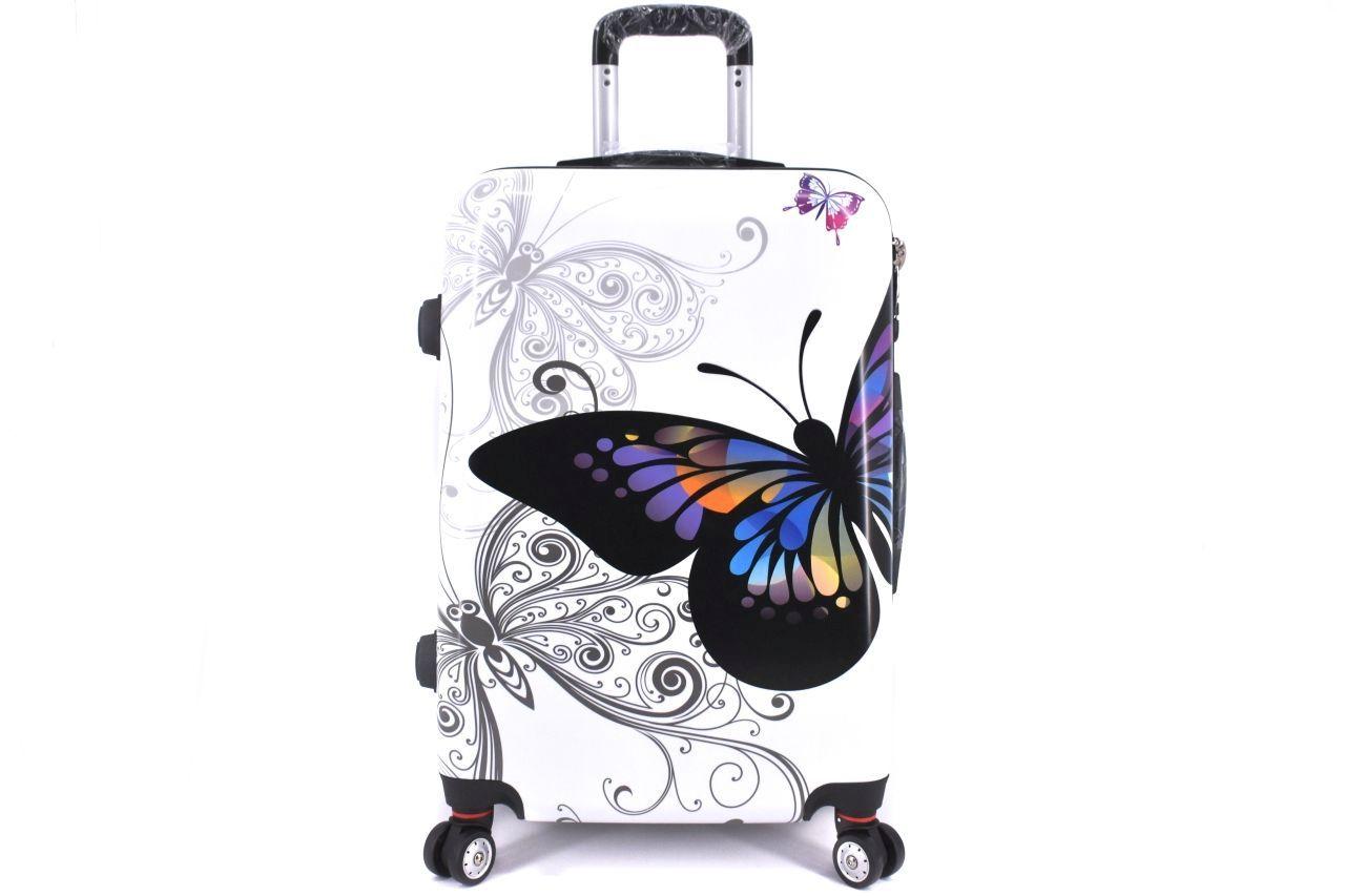 Cestovní skořepina kufr na čtyřech kolečkách Arteddy - motýl/bílá (L) 100l 37148 (L)