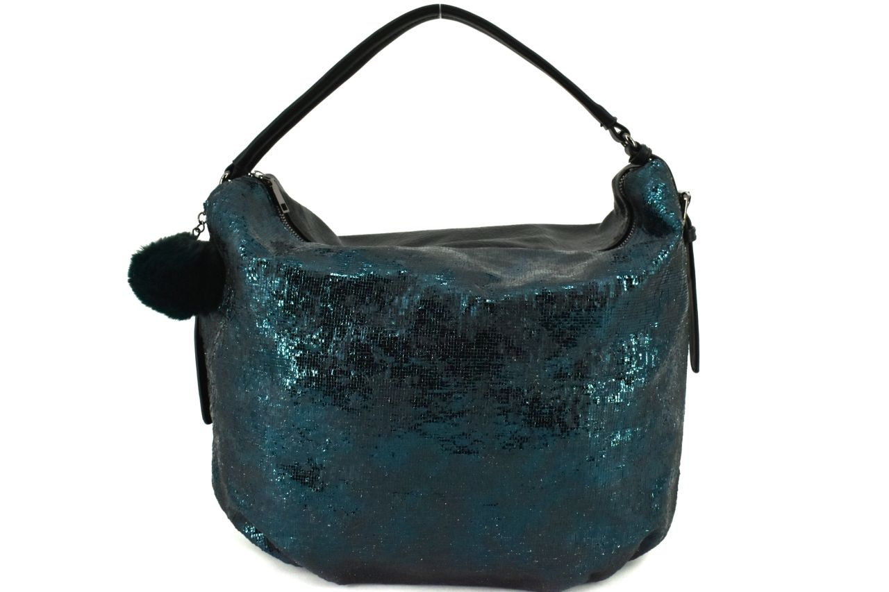 Dámská kabelka Tommasini s přívěskem pompon - petrolejová 38763