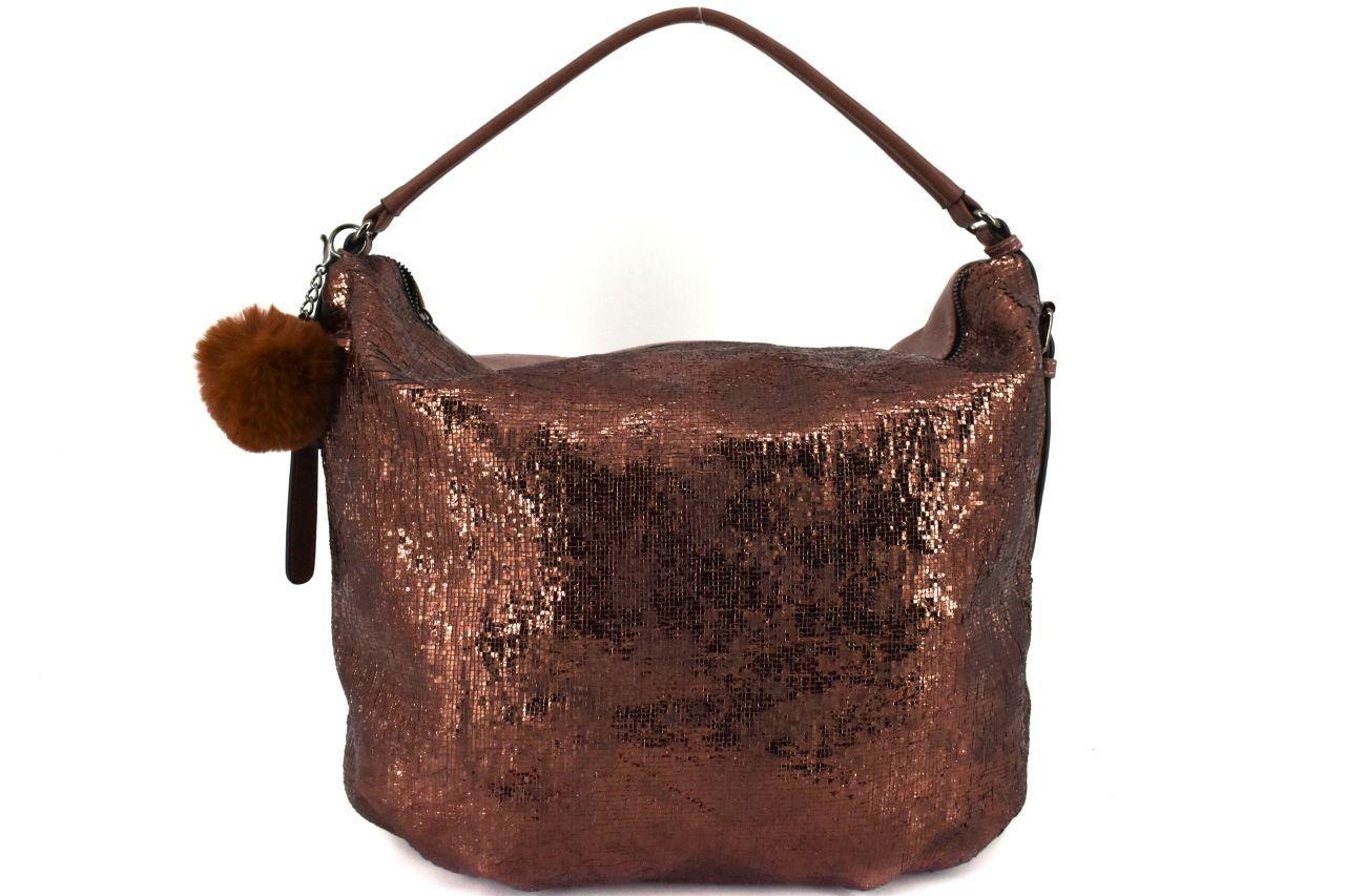 Dámská kabelka Tommasini s přívěskem pompon - tmavě hnědá 38763