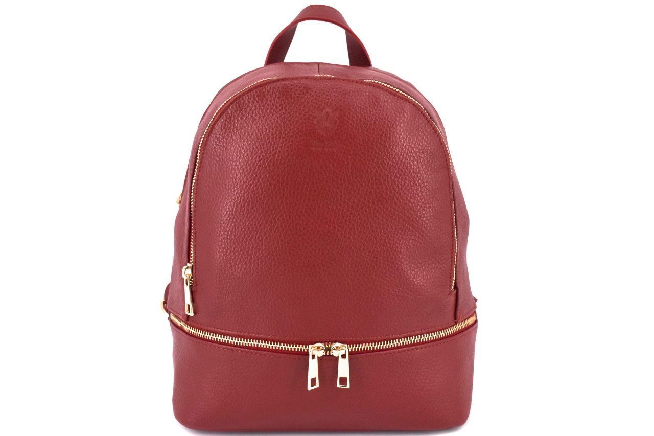 Dámský/dívčí kožený batoh Arteddy - tmavě červená 38959
