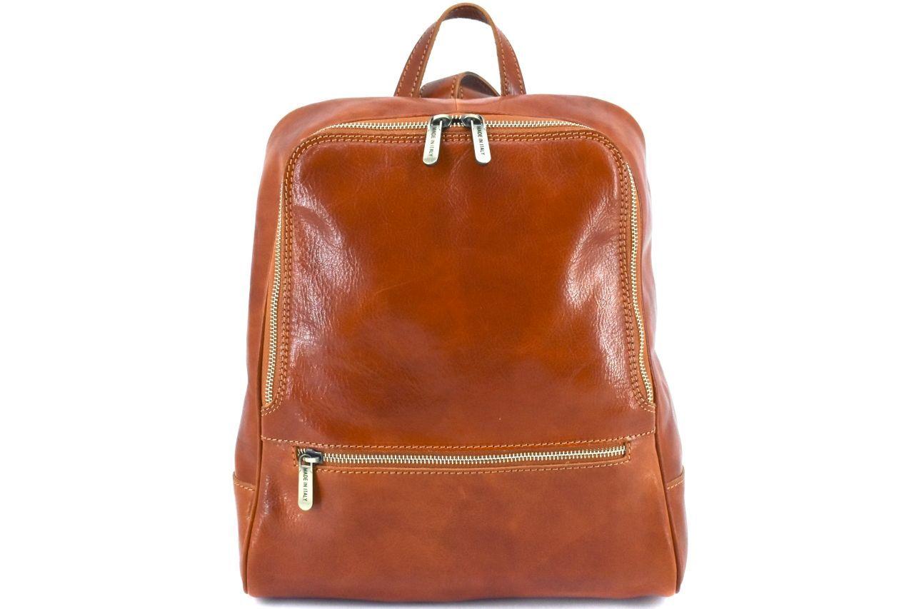 Dámský kožený batoh Arteddy - koňak 37155