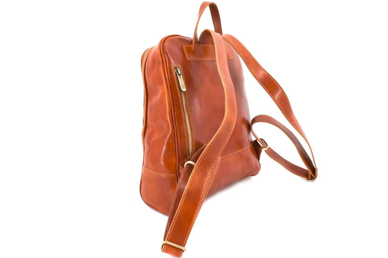 Dámský kožený batoh Arteddy - tmavě hnědá 37155