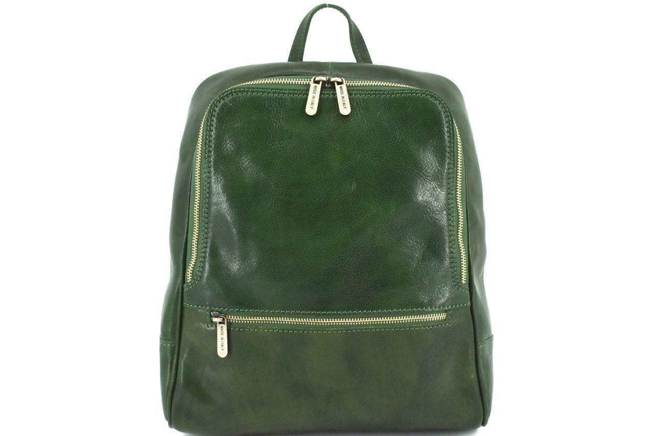Dámský kožený batoh Arteddy - tmavě zelená 37155