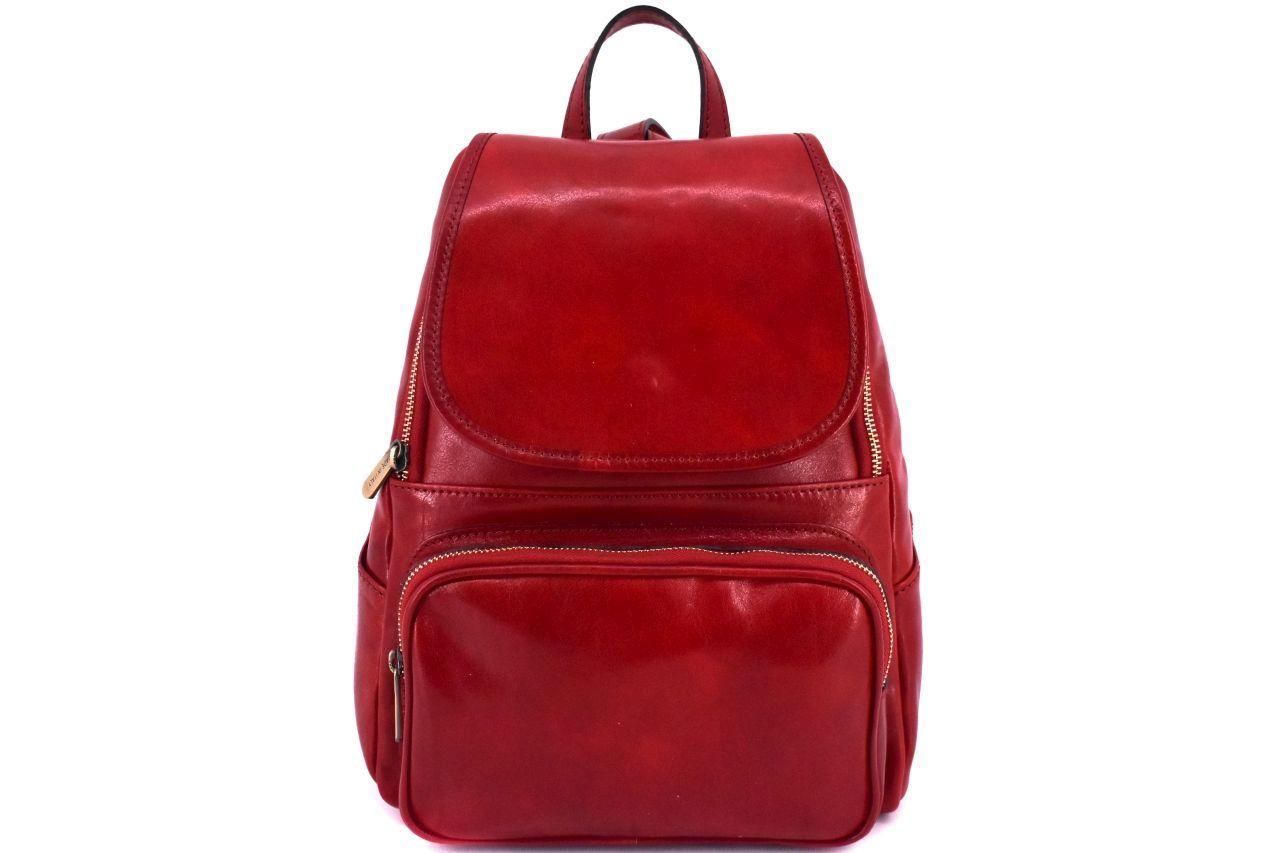 Dámský kožený batoh Arteddy - červená 37156