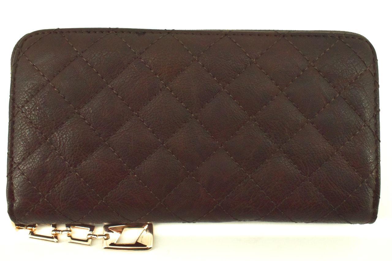 Dámská / dívčí prošívaná peněženka pouzdrového typu - tmavě hnědá 30872