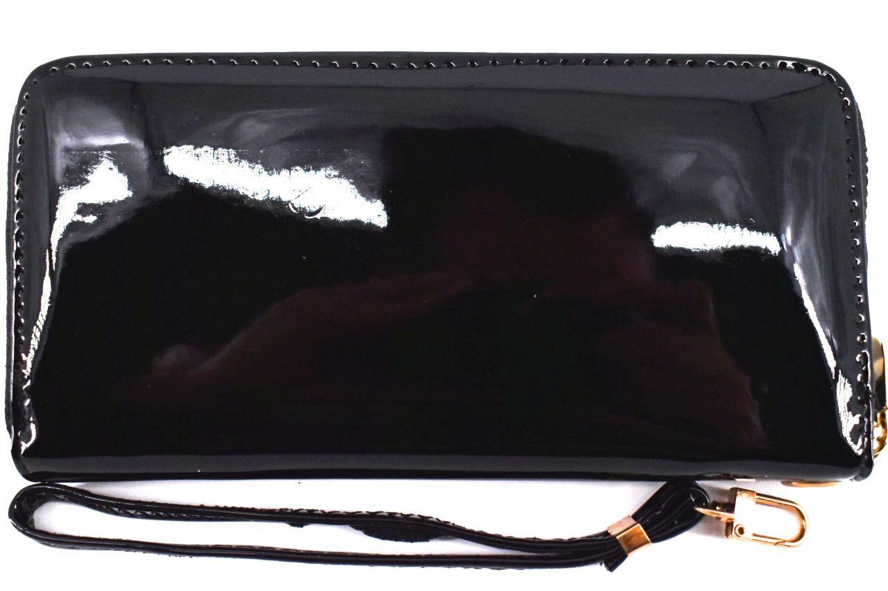 Dámská / dívčí lakovaná peněženka  pouzdrového typu - černá