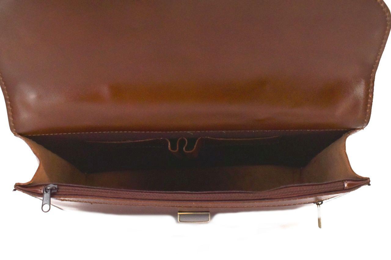 Kožená aktovka Arteddy - 1 komorová tmavě hnědá 1752