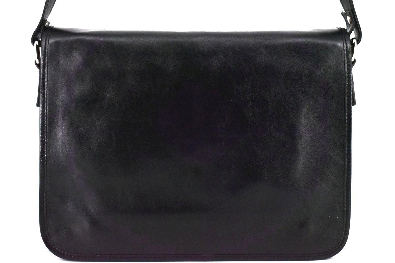 Kožená taška s klopnou Arteddy - černá