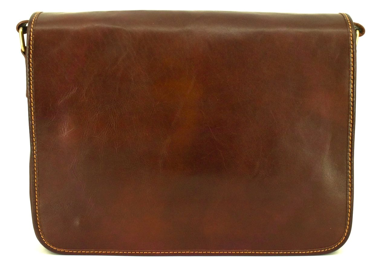 Kožená taška s klopnou Arteddy - hnědá