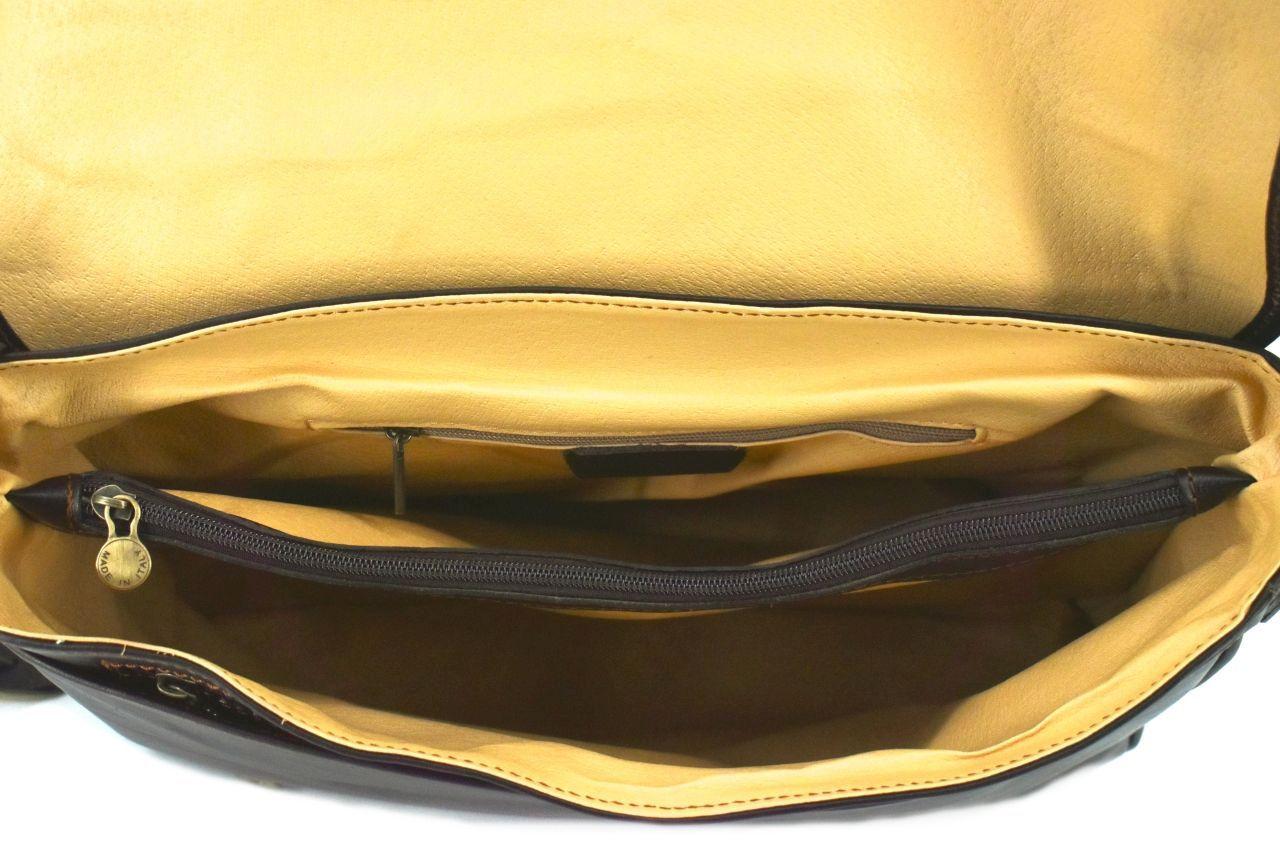 Kožená taška s klopnou Arteddy - tmavě hnědá