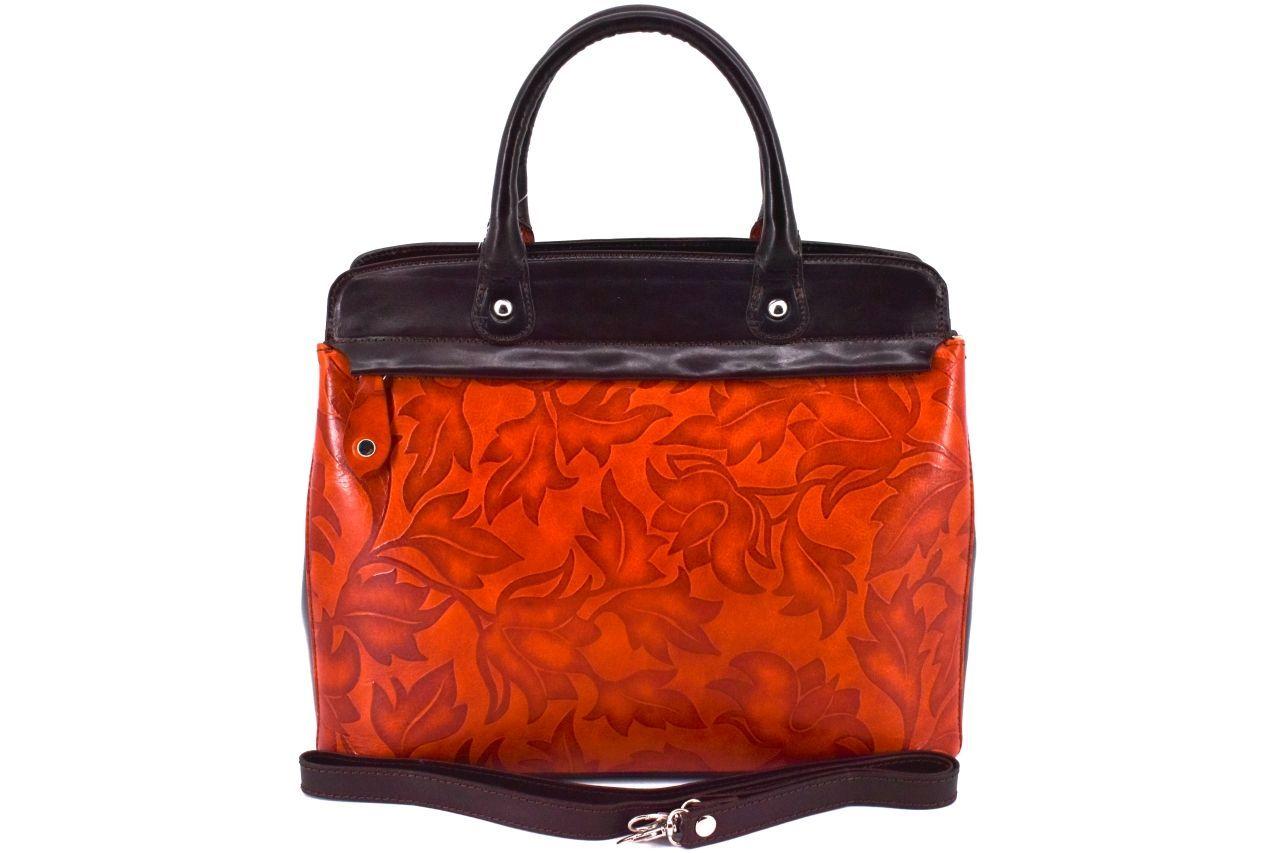 Dámská kožená kabelka s květovaným vzorem Arteddy - oranžová/tmavě hnědá 33859