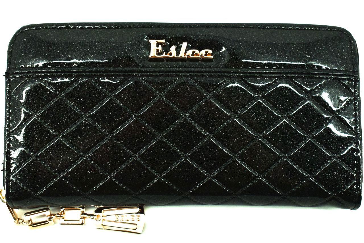 Dámská / dívčí lakovaná peněženka pouzdrového typu Eslee - černá 38920