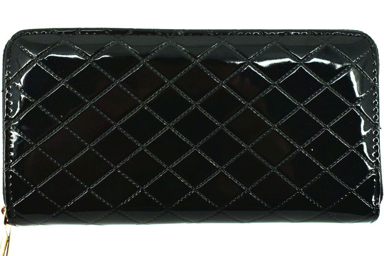 Dámská / dívčí lakovaná peněženka pouzdrového typu - černá 38921