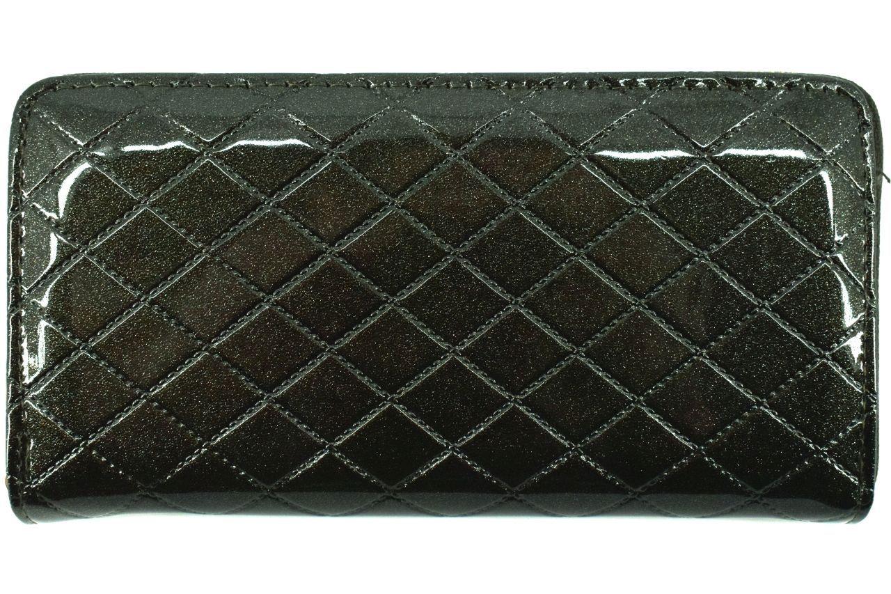 Dámská / dívčí lakovaná peněženka pouzdrového typu - tmavě zelená 38921
