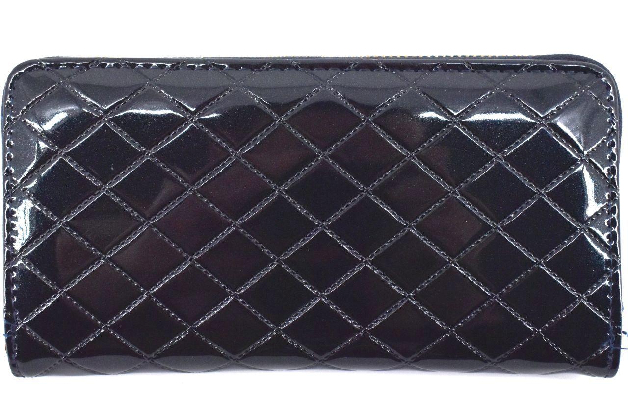 Dámská / dívčí lakovaná peněženka pouzdrového typu - tmavě modrá 38921