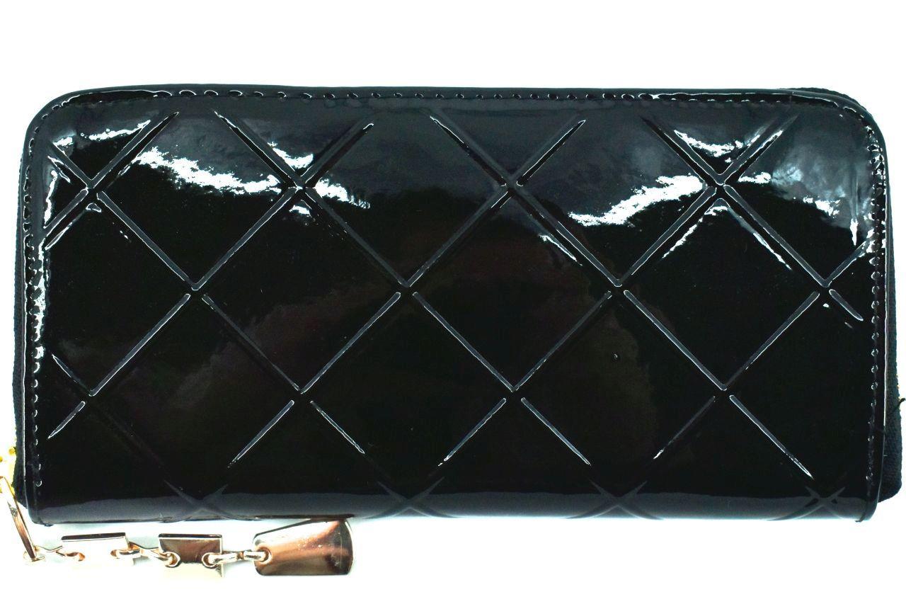 Dámská / dívčí lakovaná peněženka pouzdrového typu - černá 26591