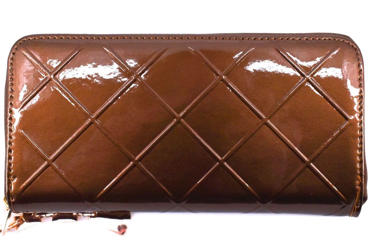 Dámská / dívčí lakovaná peněženka pouzdrového typu - hnědá 26591