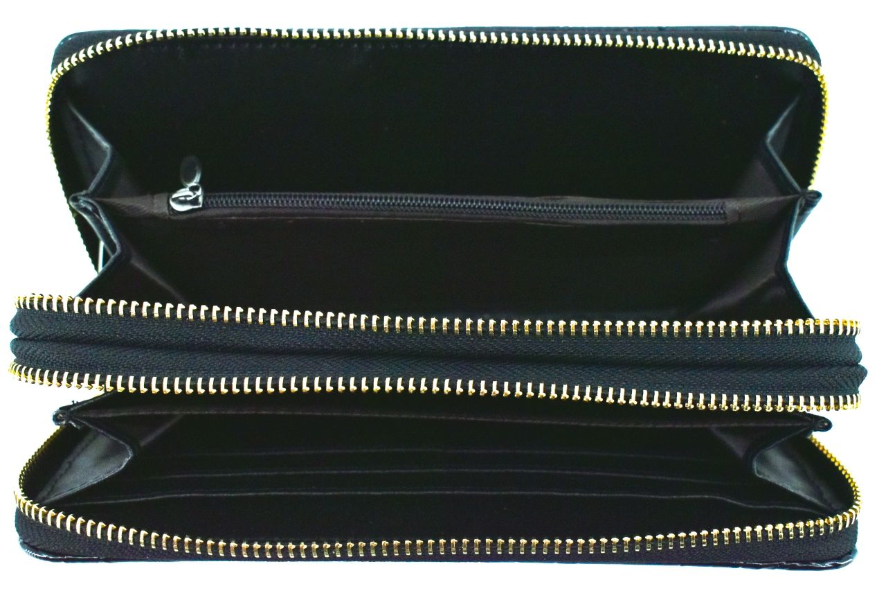 Dámská / dívčí velká peněženka pouzdrového typu s květovaným vzorem - tmavě šedá 38943