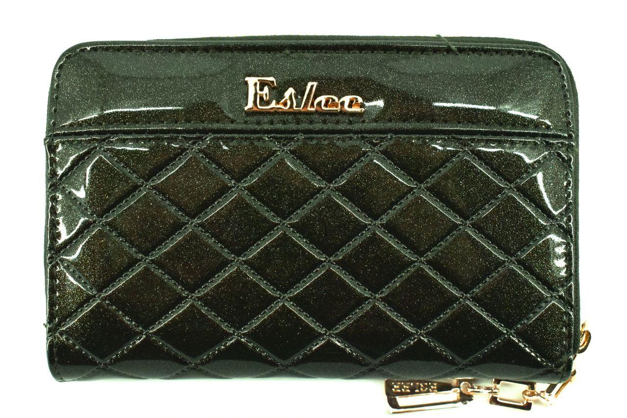 Dámská/dívčí lakovaná peněženka Eslee - tmavě zelená 38932