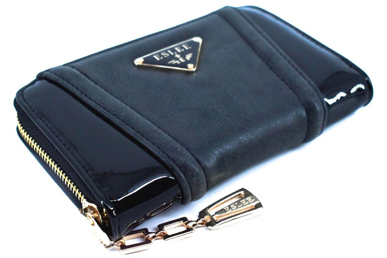 Dámská / dívčí lakovaná peněženka pouzdrového typu Eslee - černá 38936