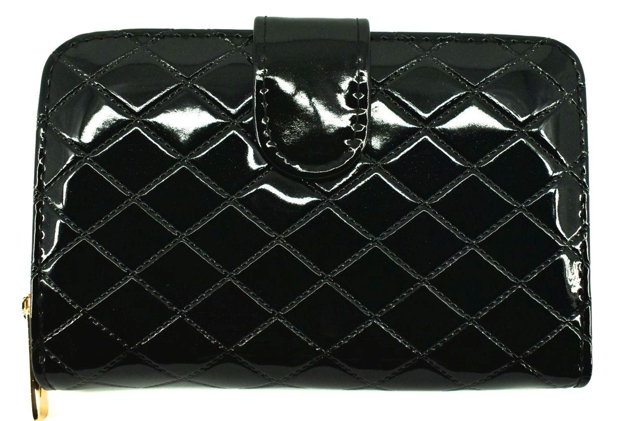 Dámská / dívčí lakovaná peněženka se zápinkou - černá 38934