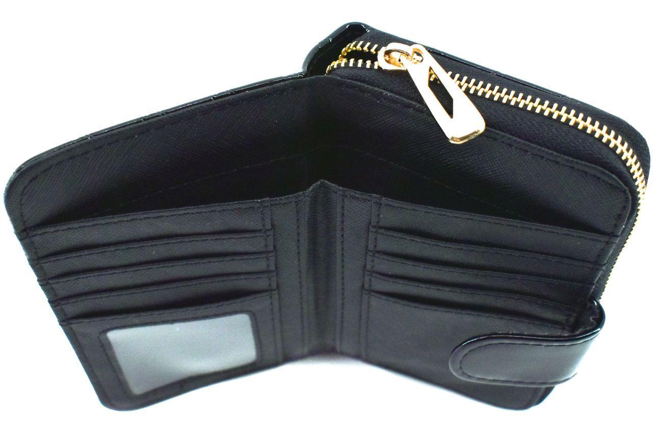 Dámská / dívčí lakovaná peněženka se zápinkou - tmavě zelená 38934