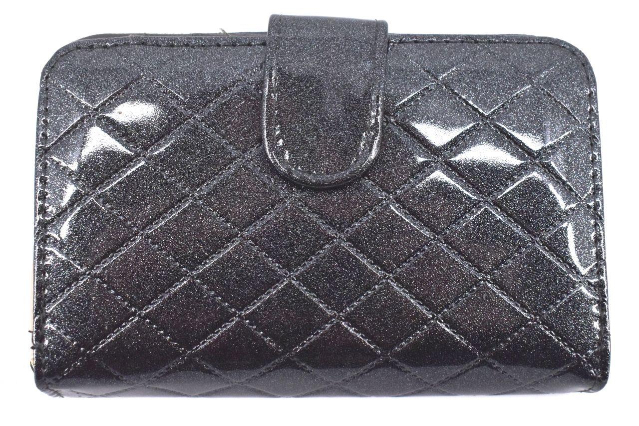 Dámská / dívčí lakovaná peněženka se zápinkou - tmavě šedá 38934