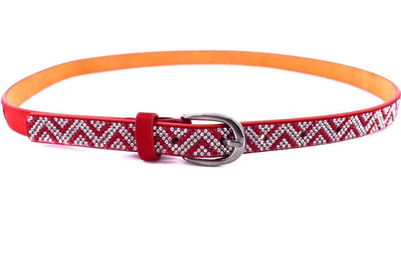 Dámský/dívčí štrasový opasek Arteddy - červená/100 38552